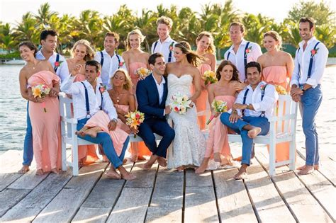 my big belizean beach wedding party photos bridal