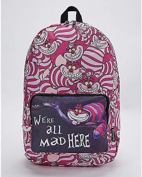 mad  cheshire cat backpack alice  wonderland spencers