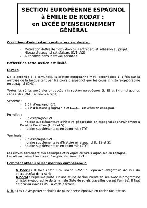 Exemple Lettre De Motivation Classe Européenne Anglais Lettre De Motivation Section Europ C3 A9enne Anglais
