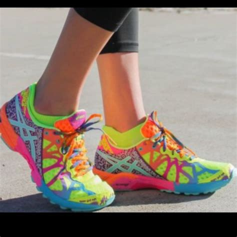 colorful tennis shoes asics bright colored running shoes