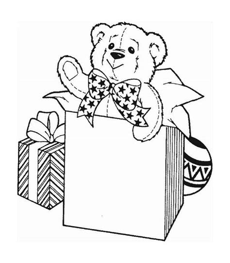cute teddy bear  christmas presents coloring page