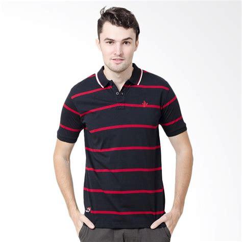 Kaos Pria Stripe jual osella polo shirt pria stripe black 3