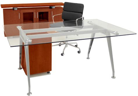 glass table desk credenza mobile file furniture package