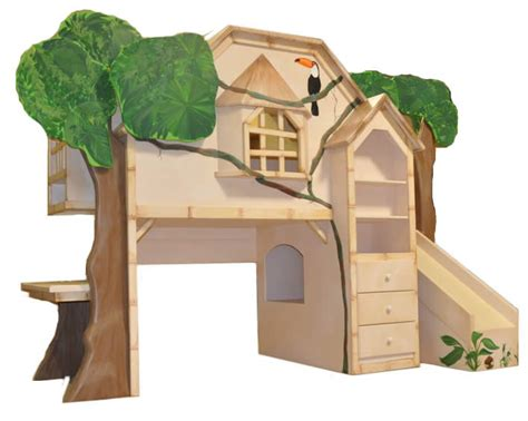 tree house beds tiki treehouse bed with desk slide