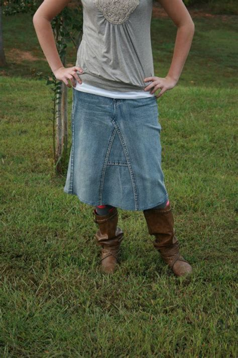 jean skirt below knee made to order skirts and