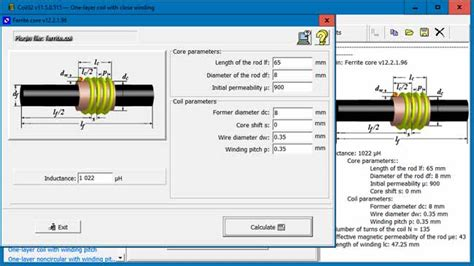 coil inductance calculator software coil32 ferrite rod coil