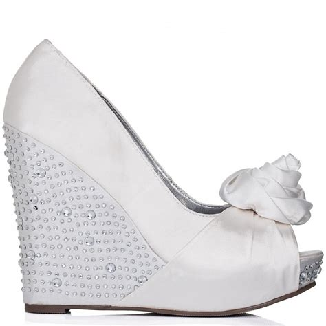 White Wedge Wedding Shoes by Bridal Prom Wedge Heel Diamante Platform Court