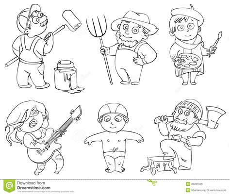 coloring pages of jobs and professions professions coloring book stock vector illustration of