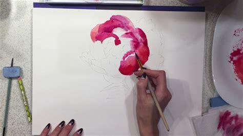 watercolor tutorial peony watercolor painting tutorial flowers peony step by step