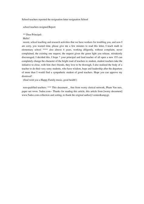 Resignation Letter To Principal Resignation Letter Format Awesome Resignation Letters For Teachers Sle Reported Simple