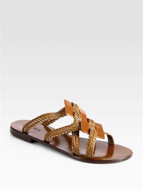 braided sandals lyst pollini braided leather sandals