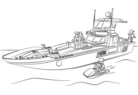 how to draw a police boat lego police boat coloring page free printable coloring pages