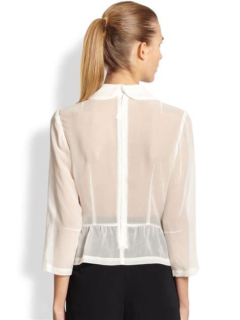 Blouse Brokat Pepplum 2 comme des gar 231 ons sheer peplum blouse in white lyst