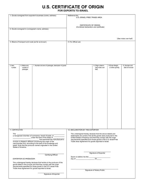 certificate of origin template pdf blank certificates