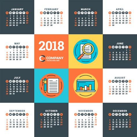 2018 business calendar template vectors 13 vector