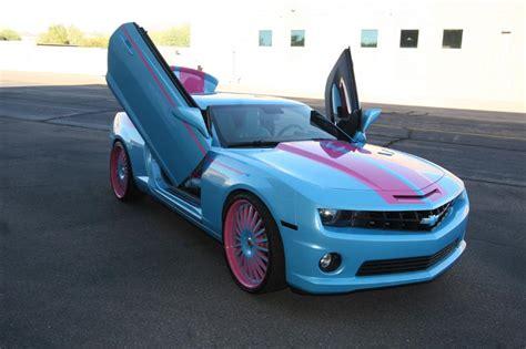 pink camaro blue and pink camaro cool cars