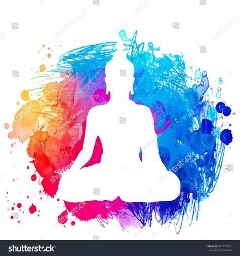 buddha watercolor illustration tutorial adobe sitting buddha silhouette over watercolor background stock