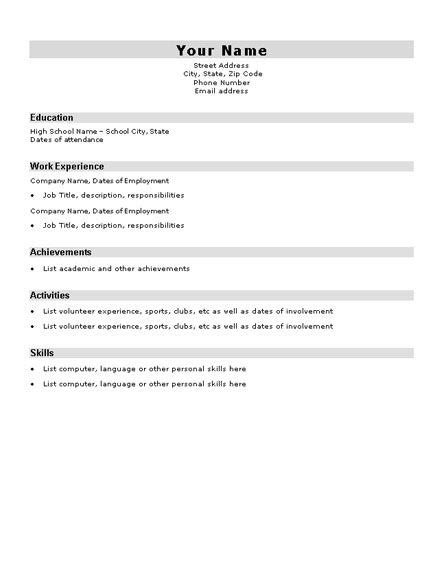 high school resume for college template basic resume template for high school students http