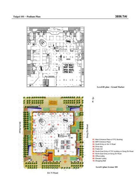 taipei 101 floor plan taipei 101 podium plan b1 and ground floor archnet
