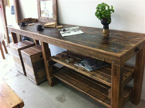 Workbench Computer Desk by Workbench Style Breakfast Bar Console Desk Recycled
