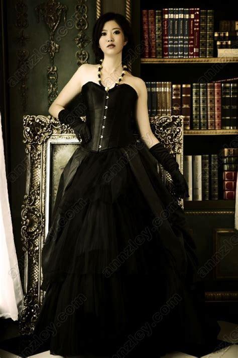 vintage corset top black gothic evening dresses  women