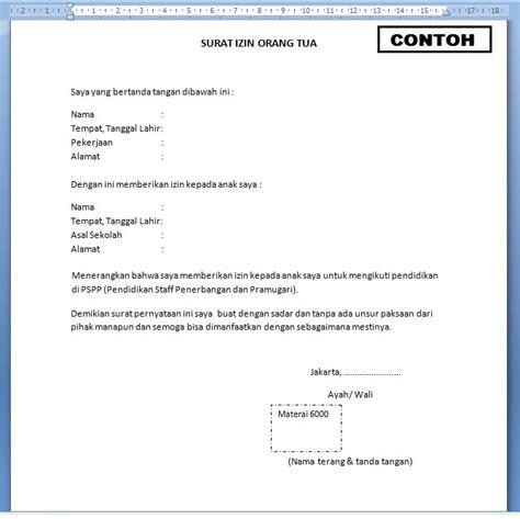 surat izin orang tua mengikuti pendidikan sekolah pramugari pspp