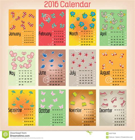design monthly calendar 2016 colorful calendar 2016 stock vector image of date design