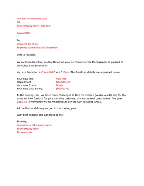 Promotion Letter Ms Word Format Promotion Announcement Report Paper Template Letter Of Debit Note
