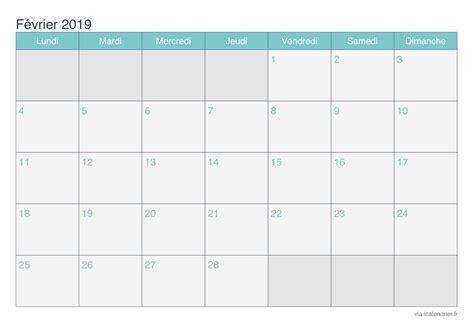 Calendrier 2019 Fevrier Calendrier F 233 Vrier 2019 224 Imprimer Icalendrier