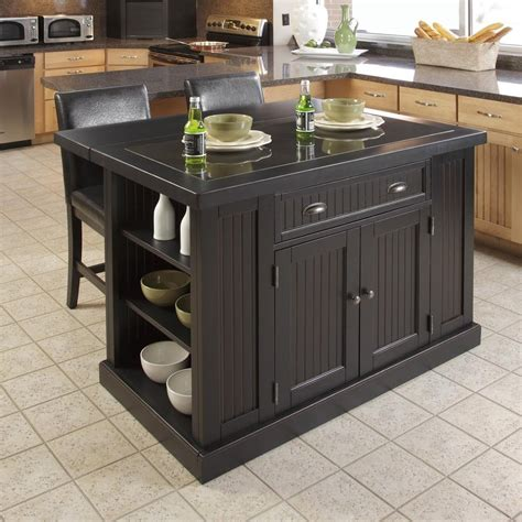 kitchen islands lowes shop home styles 48 in l x 27 in w x 36 25 in h black
