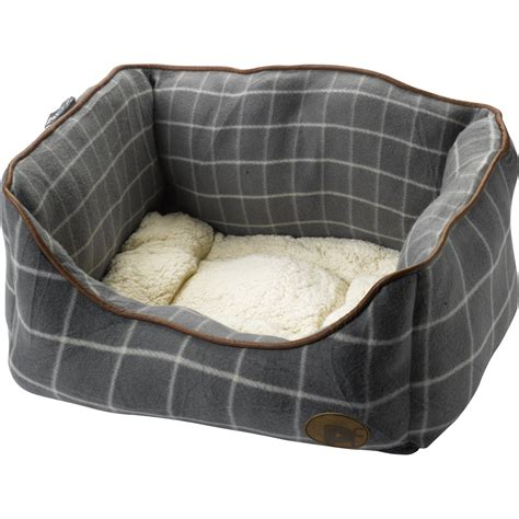cushion bed petface window pane check square pet dog bed faux