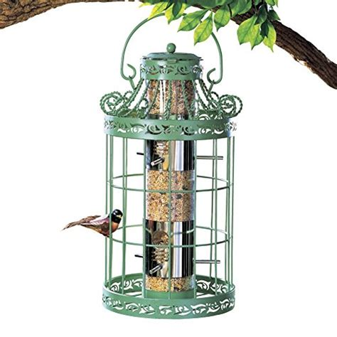 wild bird seed feeder easy fill green color squirrel proof