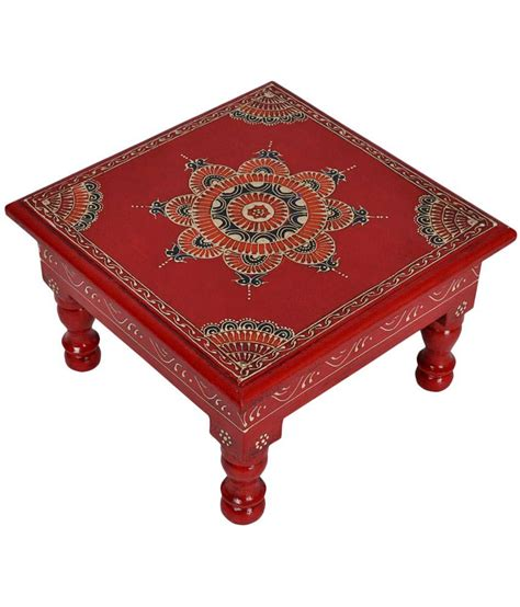 Puja Table by Lal Haveli Ethnic Meenakari Design Painted Decorative