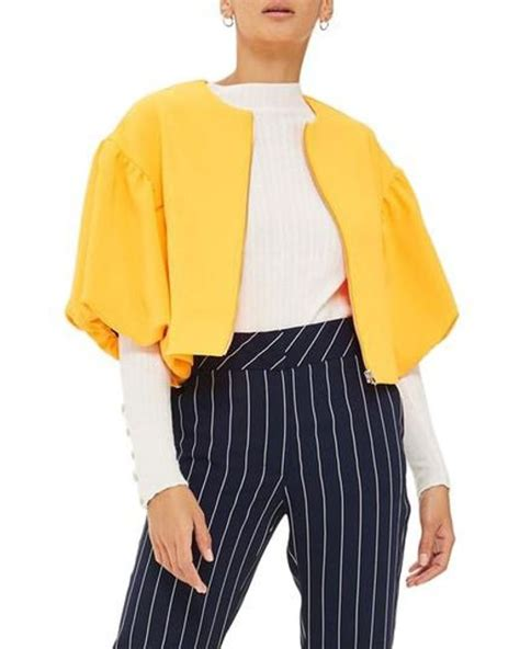 Puff Pendant Necklace From Topshop by Topshop Puff Sleeve Crop Jacket In Yellow Save 7 Lyst