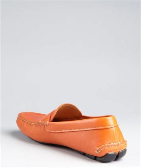 orange loafers prada traffic orange leather loafers in orange for lyst