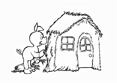 three little pigs house coloring pages free coloring
