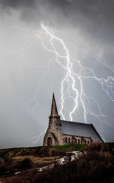 church storm lightning   ultra hd mobile wallpaper