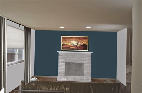 Wall Color With Brick Fireplace by Weafer Design Living Room Dining Room Paint Colors