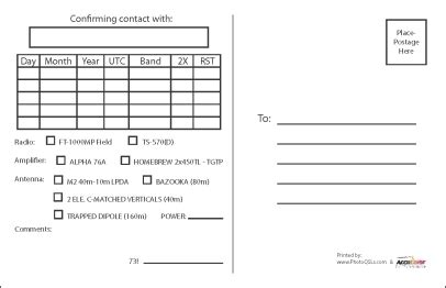 free qsl cards templates qsl card template template