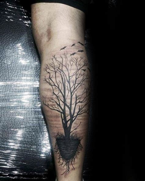 leg tree tattoos 60 tree roots designs for manly ink ideas