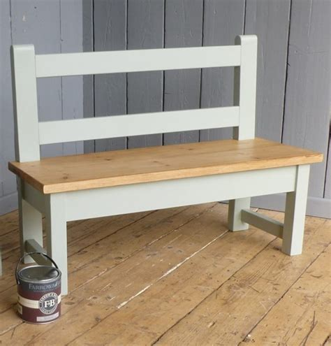 plank top bench with back rest for kitchen tables