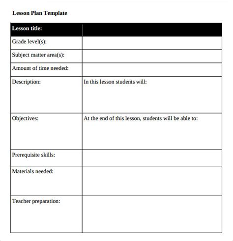 Printable College Lesson Plan Template | middle school lesson plan template 7 download free
