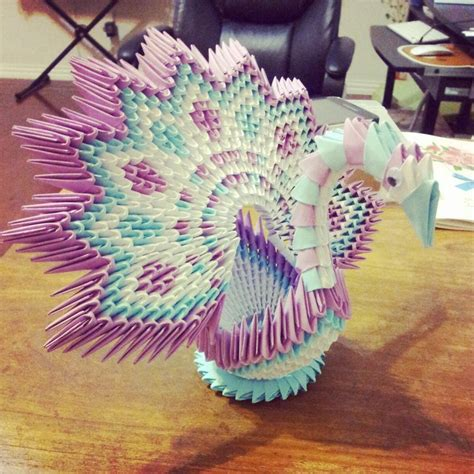 3d Origami Figures - 3d origami flower shape peacock by chingu99 on deviantart