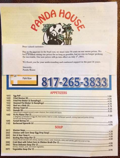 panda house chinese restaurant arlington tx menu page 1 yelp