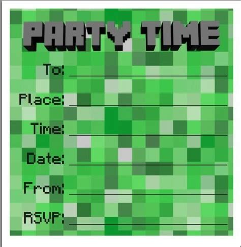 Minecraft Birthday Invitation Card Template by Birthday Invites Invitations Minecraft Style