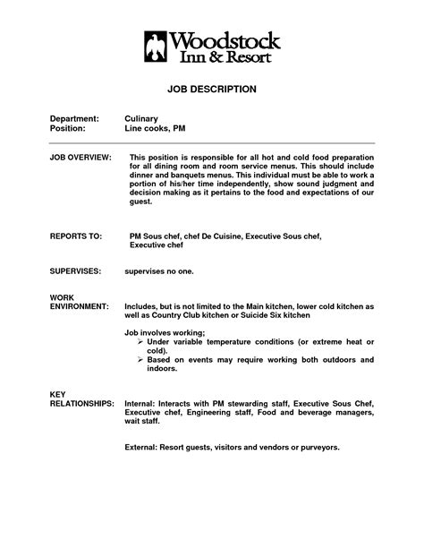 line cook description for resume