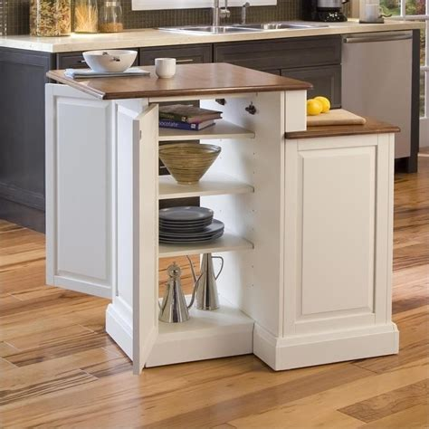 two tier kitchen island and stools set in white and oak