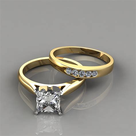 princess cut engagement ring and wedding band set