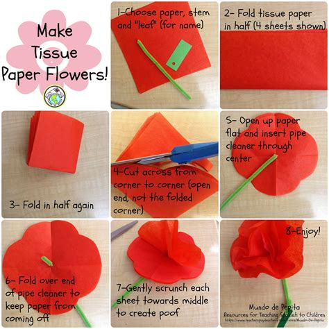 How To Make Flower Out Of Paper Step By Step - 7 steps for tissue paper flowers mundo de pepita