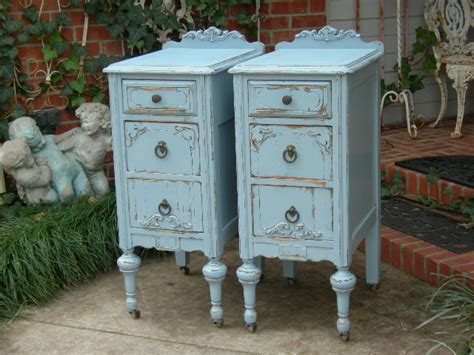 Shabby Chic Nightstands Antique Distressed Furniture Shabby Chic Blue Furniture